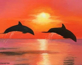Sunset Dolphins - original oil painting 16x12