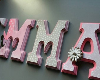 Custom wall letters Nursery letters, Pink and Gray Nursery, Personalized Letters, dots Letters, Wooden Letters Baby shower gift