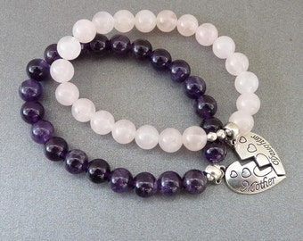 Mother Daughter Bracelet set Amethyst Bracelet for Mom Gift Rose Quarts Bracelet for Daughter Gift for Mom Daughter Gifts for daughter