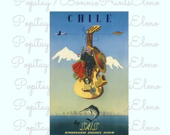 Chile Travel Poster,Chile Tourism, Chile Wall Art, South America Poster ,Restaurant Decor, Office Art, Vintage Chile Poster, Travelers Gift