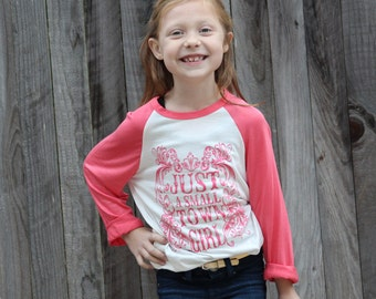 GIRLS Pink Just a small town girl, Girl's Clothing, Southern, Small Town, Graphic, Screen print, Long Sleeve, Gold Foil, Kids T-Shirt