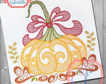 MOTIF HARVEST PUMPKIN Design For Machine Embroidery  Instant Download