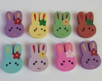 Wooden Bunny Buttons X 8, flower, rabbit
