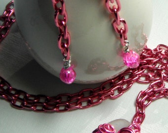 Very Pink Chain Link and Wire Wrapped Sea Glass Necklace and Earring Set