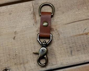 Leather Keychain, Solid Brass, Handmade Leather Keychain, Belt Clip, Jericho Classic Key Chain by Jericho Leathe