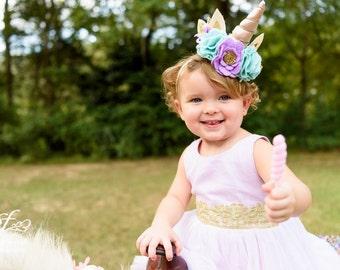 ELLA // Whimsical Unicorn Headband, Custom Request, Mint, Lilac and Gold Crown