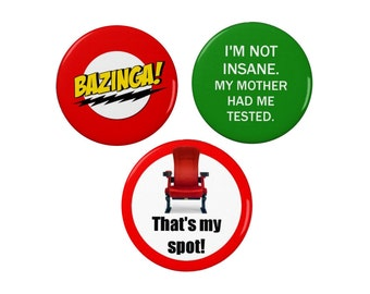 Sheldon Cooper Quotes Badge Set - Pin Back Badge/Fridge Magnet - Big Bang Theory - TV - Comedy
