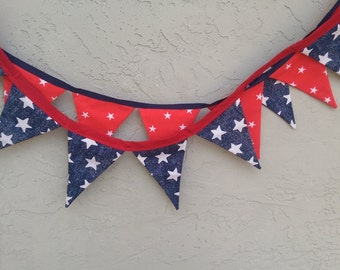 4th July. Red, White, Blue Stars Bunting banner x 2.