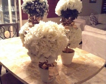 3 pieces cream silk flowers topiaries centerpieces wedding ,showers