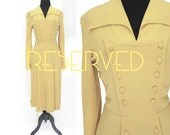 RESERVED 3/4 - 1940s 50s Vintage Paul Sachs Original Military Button Wide Collar Mustard Dress, Size Small
