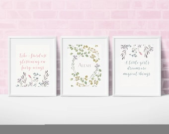 Girls Printable Nursery Art, Set of three 8x10 customized prints, Girl's Name Art, Watercolor Art, Floral Art, Printable Art for Kid's Room