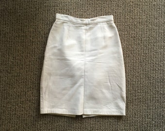 Soft white leather mini skirt