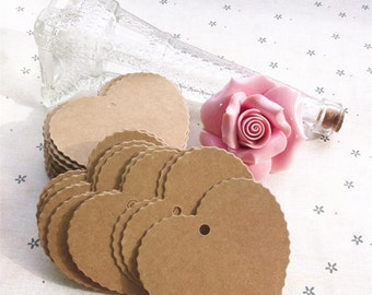 50 Heart Kraft Tags + Brown Twine /Gift Party Favour Wedding / Bomboniere Card/ Paper Packaging