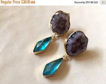 15% VALENTINES SALE Grey Agate Earrings, Blue Glass Earrings, Statement Earrings, Dangle Earrings, Handmade Earrings