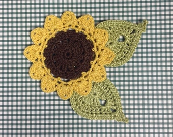 Crocheted Sunflower/Leaf Appliqués - set of 3 (#09-16-4)