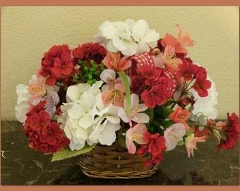 Faux Flower Arrangement, Silk Floral Arrangement with Geraniums, Silk Flower Centerpiece