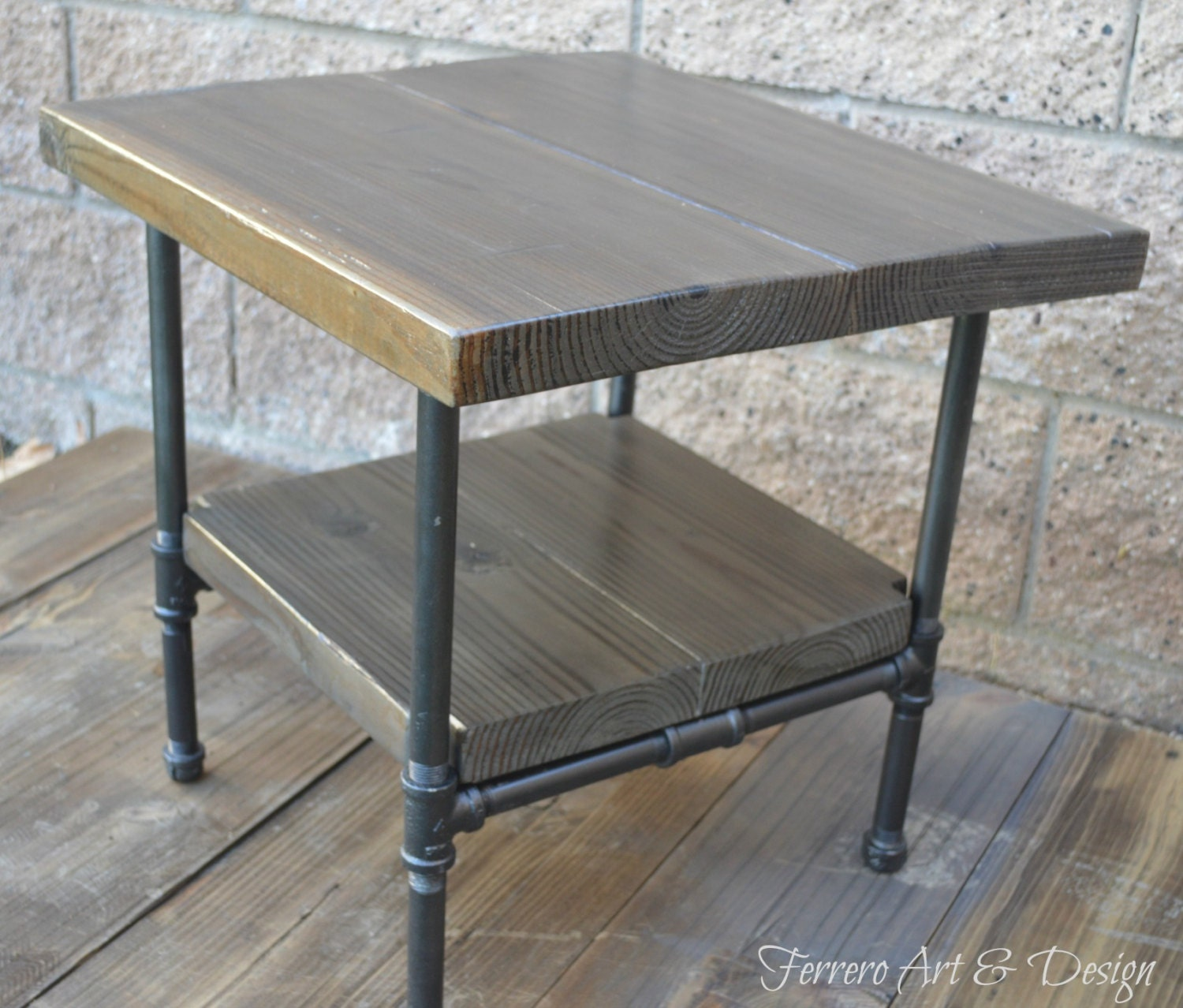 This Sleek And Rustic Industrial Table Would Look Great In: Steampunk Table Industrial Nightstand By FerreroArtDesign