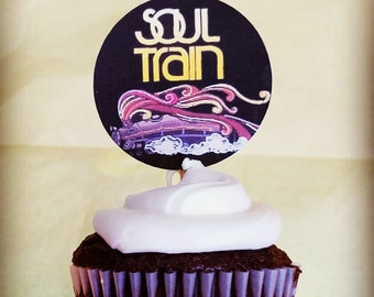 Soul Train Party Cupcake Toppers, Soul Train Party Supplies, Soul Train Party Decorations, 70s Party Supplies, 70s Party Cupcake Toppers