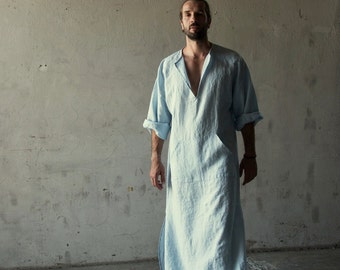 Men's relaxed texture, pure linen caftan. Color Icy Blue.