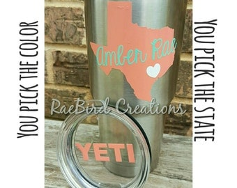 Yeti decal personalized with state name YETI lid sticker 30 oz Yeti rambler, mug, cup