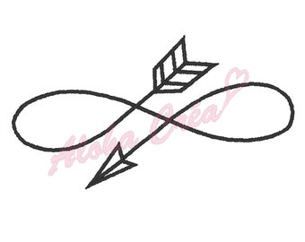 Machine embroidery design arrow infinity sign - 5 sizes - instant download