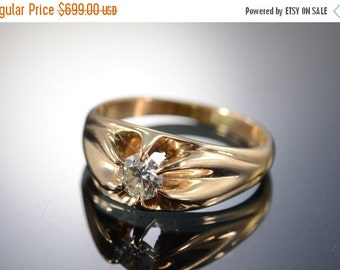 1 Day Sale 14K 0.50 Ct Antique Solitaire Engagement Ring Size 8 Yellow Gold