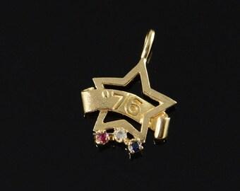 ON SALE 14K America BiCentennial 1776-1976 Star Sapphire Ruby Diamond Charm/Pendant Yellow Gold