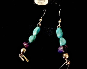 Boho Pair of Turquoise Earrings -  Fun Pair of Turquoise Purple Nugget Dangling Earrings-Sterling Beads -  Uniquely Southwestern