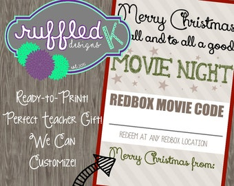 Movie Night Christmas Card