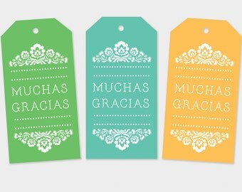 Muchas Gracias Tags, Fiesta Tags, Mexican Gift Tags, Fiesta Favor Tags, Spanish Thanks You Tags, Printable