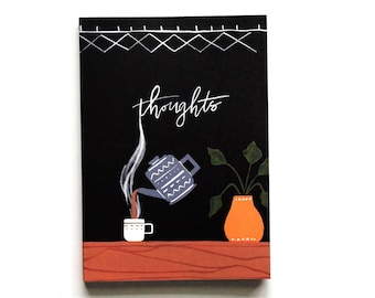 Black Journal | Illustrated Journal with Hand Lettering | Small Journal Diary | Lined Journal Notebook