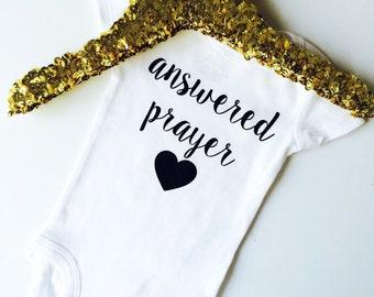 Answered prayer. Miracle baby. Rainbow baby. Onesie . Bodysuit
