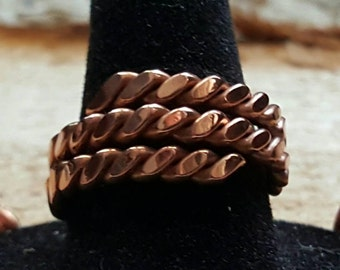 Copper twisted hammered ring