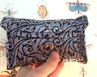 Small Tarot Deck bag, Tarot Pouch, Tarot Bag, Tarot Card Holder, Oracle Card Bag, Pendulum Case, Silver Metallic Vines, Damask