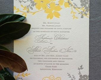 Sample Summer Garden letterpress wedding invitation