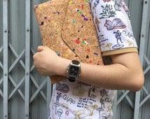 WILDFLOWER// Coloured Cork Handbag Messenger party Bag Purse Minimalist Clutch Handcrafted natural material goods