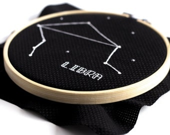 Libra Cross Stitch Pattern September October Zodiac Cross Stitch Star System DIY Personalized Embroidery French Knot Pattern Wall Hanging
