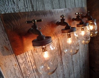 "26"" - 32"" 4 Mason Jar Light Fixture Faucet Style Country Reclaimed OAK Barn Board *Custom Designs Available*"