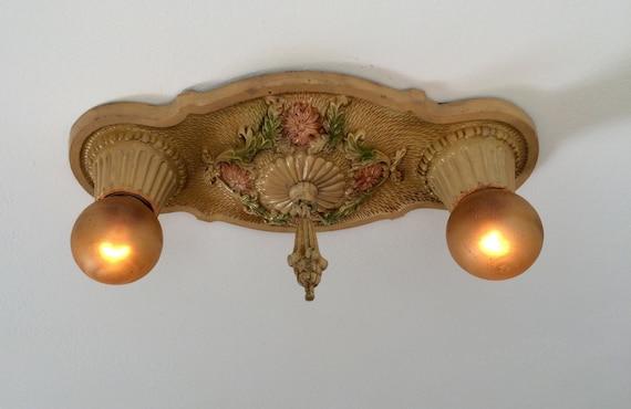 Antique Flush Mount Light Fixture 1927 Cast Iron Cream With