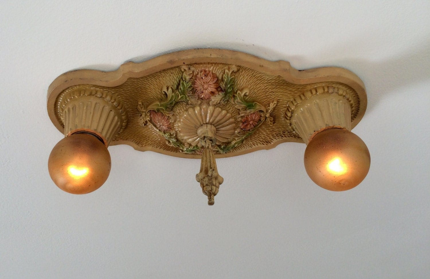 Antique Flush Mount Light Fixture 1927 Cast Iron Cream With