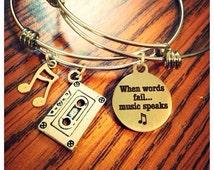 When Words Fail....Music Speaks bangle bracelets