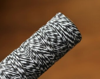 Black and White Bakers Twine / Baker's Twine / 100 Yard Spool / 4 Ply