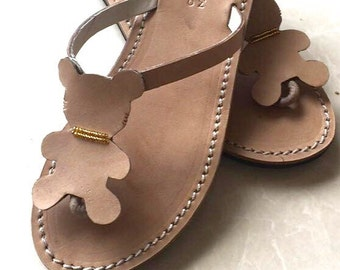 Teddy bear flip flops - handmade leather sandals - cute shoes