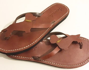 Dandie Dinmont terriër sandals handmade to order in leather flip flops gift summer