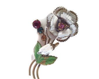 Vintage Enamel Flower Pin Austrian Brooch White Rose with Rhinestones Mothers Day Lapel Pin