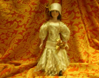 "18"" China Doll Downton Abbey-esque 1920s Detailed Costume Stand Included"