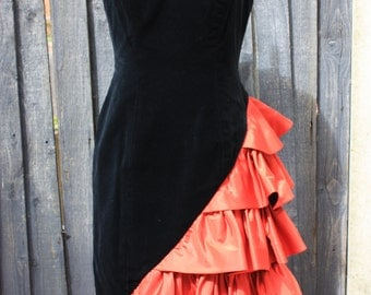 After Six - Ronald Joyce 1980s Black Velvet and Red Satin Frill Dress with Sweetheart Neckline