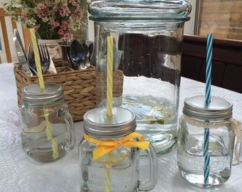 Mason Drinking Jar with Hand Etched Personalisation