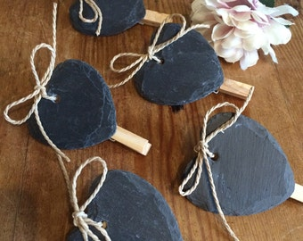 Slate Hearts with Peg Clip Weddings Price Labels Table Settings Numbers Parties