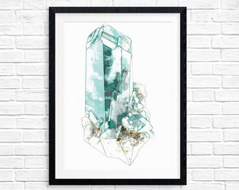 Teal green dioptase mineral printable art